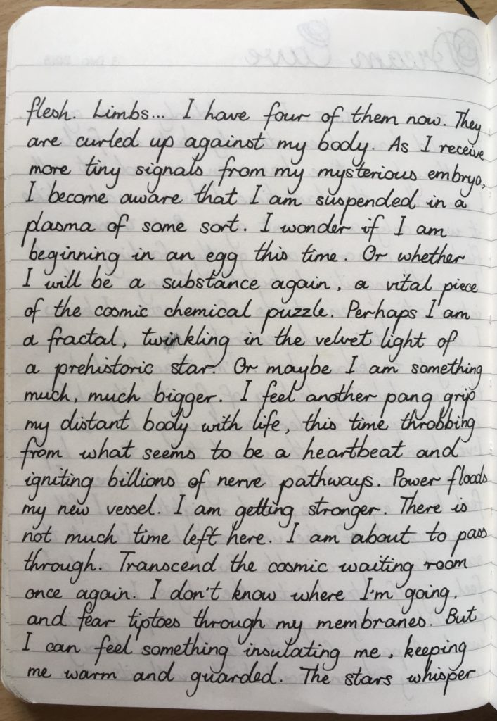 Photo of a piece of writing I did about being in the cosmic womb.