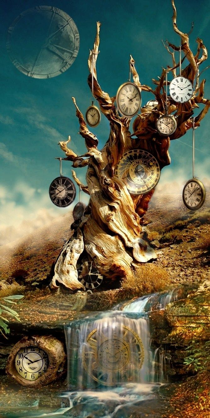 A surrealist image of clocks sitting on an ancient warped tree.